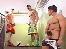 Easily one of the hottest group masturbation sessions caught on film, you simply have to see the stunning muscle jocks jerking off in this video. Ther