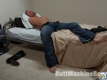 Hot stud gets machine reamed in the ass, shoots huge load of cum.