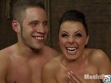 Hot Dominatrix Penny Flame whips slave boy while sucking pussy